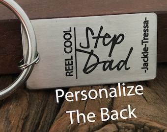 Reel Cool Stepdad Keychain Fathers Day Gift For The Fisherman Gift From Kids Present Stepdad Keychain Gift Idea For The Reel Cool Fisherman