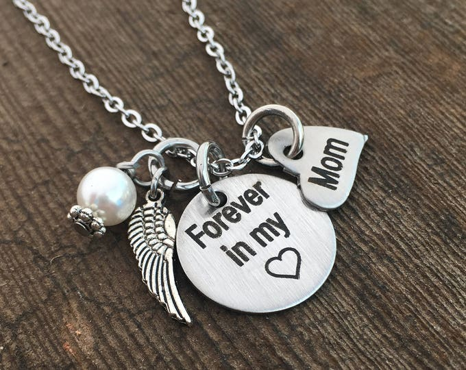 Forever In My Heart Necklace Remembrance Necklace Gifts Angel Wing Necklace Remembrance Jewelry Gifts Heaven Heart Necklace Remember Forever