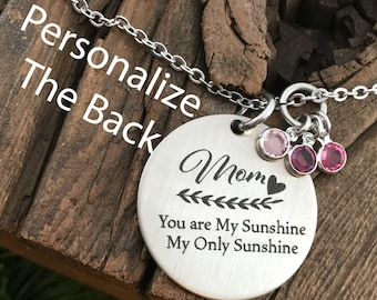 Mother's Day Gift You are My Sunshine Necklace Gifts For Mom Gifts For Mom Gift My Only Sunshine Jewelry Mom Birthday Christmas Gift