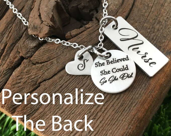 Nurse Pendant Necklace Gift For Nurses Gift Idea For Her She Believed She Could So She Did Necklace Gift Heartbeat Jewelry Gifts For Her