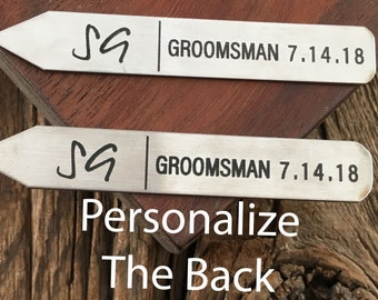 Personalized Groomsman Initial Collar Stay For Wedding Groomsman Collar Stay Engraved Collar Stay Wedding Party Gift For The Groomsman