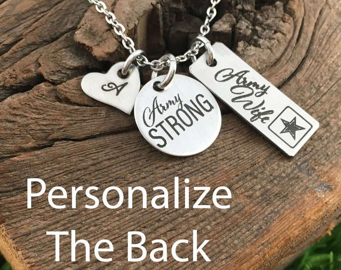 Army Wife Pendant Necklace Gift for Army Wife Gift Idea For Mother's Day Gift Stay Strong Jewelry Birthday Army Necklace Military Gift