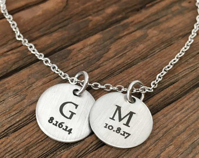 Personalized Initial Disc Necklace Initial Necklace Personalized Jewelry Necklace For Fiance For Her For Daughter Personalized Necklace Gift