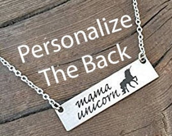 Mama Unicorn Bar Necklace Mama Necklace Gifts For Mom Gifts Valentine's Day Gift For Wife Gift Jewelry Wife Mother's Day Birthday