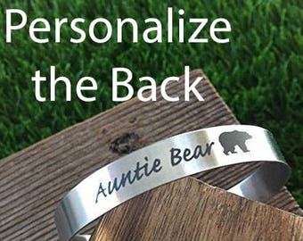 Auntie Bear Cuff Bracelet Stainless Steel Bracelet For Girlfriend Gift For Wife Gift Valentines Day Gift Gift Birthday Hypoallergenic