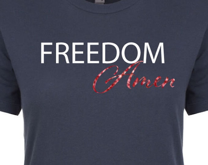 Freedom Amen Tank Top 4th Of July Clothes Gift Freedom Shirt Gift Idea Red White And Blue Shirt Tank Top Happy 4th Of July Religious Shirt