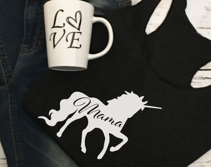 Mom Shirt Mama Unicorn Tank Top For Mama Shirt For Her Gift For Wife Unicorn Shirt Gift Idea Women's T-Shirt For Mommy Unicorn Shirt