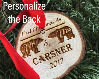 Bears Wood Ornament Our First Christmas as Mr & Mrs Ornament Personalized 2017 Christmas Ornament Holiday First Christmas Ornament