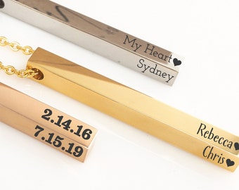 Custom Bar Necklace for Women 4 Sides Personalized Necklace 3D Bar Necklace Personalized 3d Necklace Personalize Valentines Day Gift for Mom