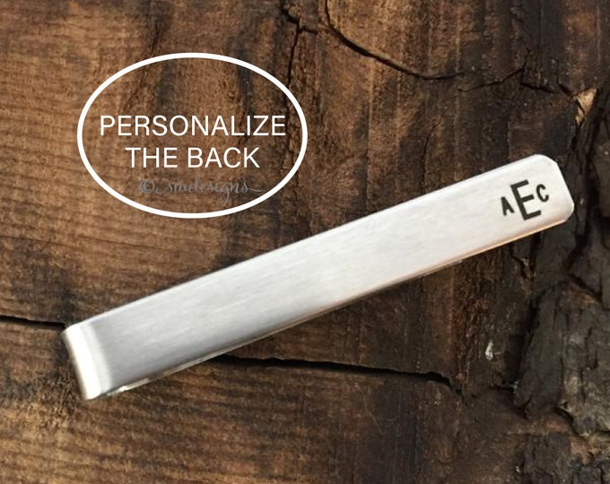 Monogram Tie Clip Groomsman Gift Tie Clip Personalize Tie Clip Monogram Tie Bar Personalized Mens Gift Groomsmen Gift Tie Clip