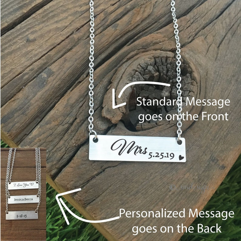 Personalized Mrs Anniversary Date Necklace Wife Gift From Husband Anniversary Gift Jewelry Mrs Necklace Wedding Date Bar Necklace