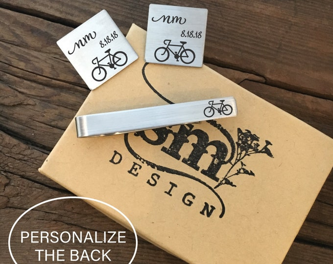 Personalized Bicycle Cufflinks And Tie Clip Set Gift Idea Biker Cufflinks Gift Bike Cufflinks For Him Gift Cufflinks And Tie Clip Set