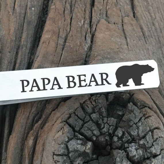 Papa bear Mens Personalized Tie Clip  Gift  Personalized For Him Mens Gift Boyfriend Gift