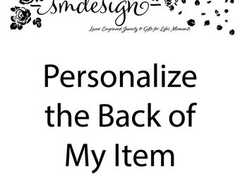 Personalize the Back of My Item