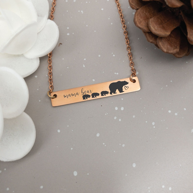 Mama Bear Necklace Mama Bear Necklace with Cubs Mama Bear with image 0