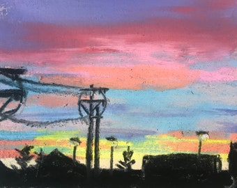CLEARANCE  Sunrise in Town - Small 3x3 Framed Original Pastel Painting by Jamies Art