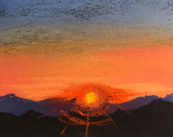 CLEARANCE Mountain Sunset - Original Pastel Painting by Jamies Art 4x4