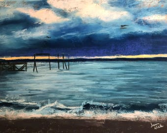 Storm on the Pier - Original Pastel Drawing by Jamies Art 12x16  storm, water, marine, dock, clouds, blue, art, painting, crashing waves