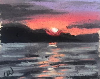 CLEARANCE  Fiery Sunset - Small 3x3 Framed Original Pastel Painting by Jamies Art