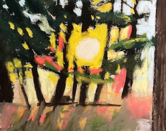 Afternoon Glow - Original Pastel Painting by Jamies Art 8x10 Drawing, art, forest, trees, woods, sun