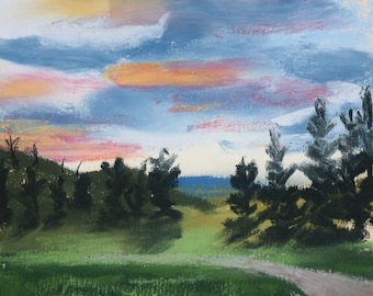 The Road in Malott - Original Pastel Drawing by Jamie's Art 5x5, painting, gravel dirt road, trees, clouds, sunset, dusk