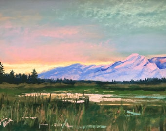 Sun Down in the Valley - Original Pastel Drawing by Jamies Art 12x16, painting, montana, mountain, sunset, valley, marsh, pond, sky, clouds