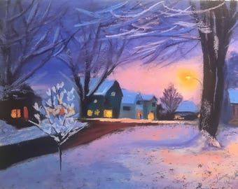 I'll Be Home For Christmas - Original Pastel Drawing by Jamies Art 12x16, painting, homes, houses, street, trees, warm, pink, purple, snow