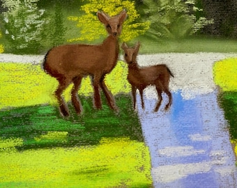 CLEARANCE Doe and Fawn- Original Pastel Painting 8x10 by Jamies Art, drawing, deer, trees, mother, green