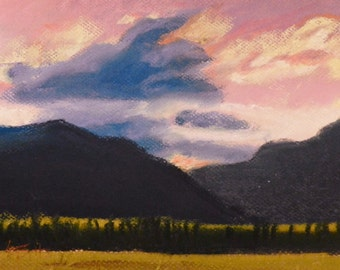 CLEARANCE  Sun Behind the Mountain - Original Painting by Jamies Art 8x10