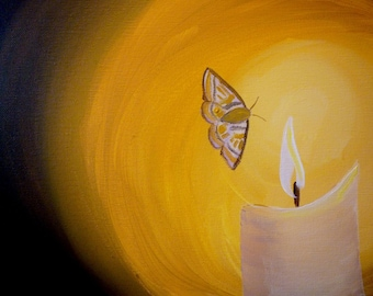 CLEARANCE Moth to a Flame- Original Painting by Jamies Art 11x14