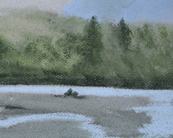 CLEARANCE Low River Tide - Original Painting by Jamies Art 5x7, river, landscape, drawing, beach, rainy, rain, trees, dreary, grey, water