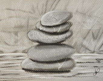 CLEARANCE Stacked Stones - Original Charcoal Drawing by Jamies Art 5x7