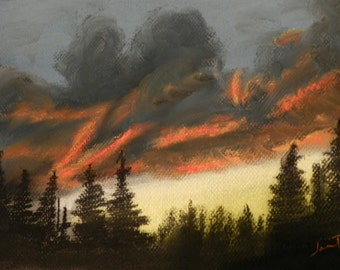 CLEARANCE Fiery Sky- Original Pastel Painting 8x10 by Jamies Art