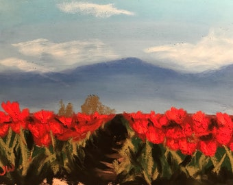 Ruby Valley - Original Pastel Painting by Jamies Art 5x7, Tulips, Flowers, Red, Rows, Fields, Mountains, Sky, Drawing, Sun, Clouds, Tulip