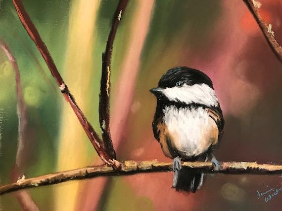 trees rain Original Pastel Drawing by Jamies Art 8x10 chickadee wood bird feeder bird wet painting seeds Snacks in the Rain