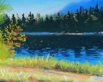 CLEARANCE Summer Morning at the River - Original Pastel Drawing by Jamies Art 8x10,