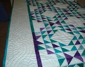 Patchwork Quilt Ocean Waves in Aqua, Jade, Teal, Purple Batik Made for You