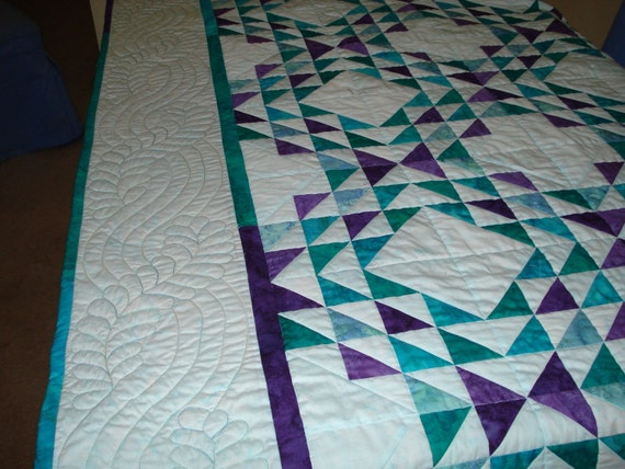 Patchwork Quilt Ocean Waves In Aqua Jade Teal Purple Batik Etsy
