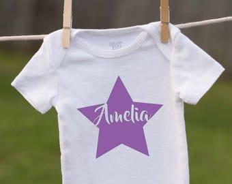 Star Baby Name Outfit / Custom Name Shirt / Personalized Baby Star Outfit / Star Birthday / Star Bodysuit /Baby Name Gift / Birthday Shirt