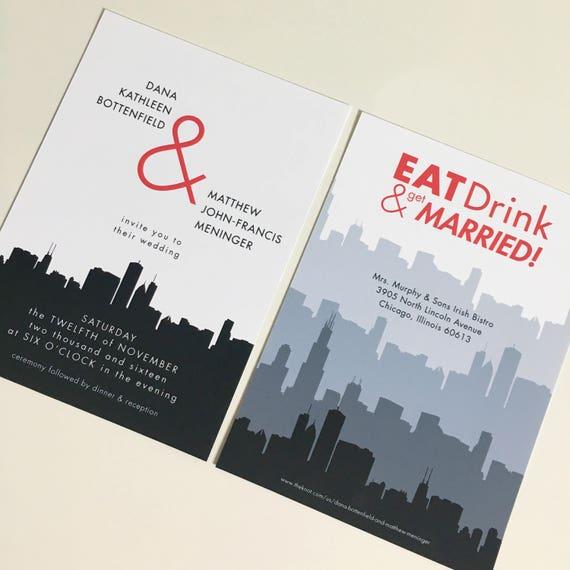 Print Yourself Custom Wedding Invitation Or Suite Eat Drink Etsy
