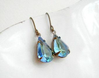 Blue Drop Earrings in Brass Aqua Blue with Green Earrings In Brass Blue Vintage Jewels, Costume Jewelry, Vintage Style Jewelry Drop Earrings
