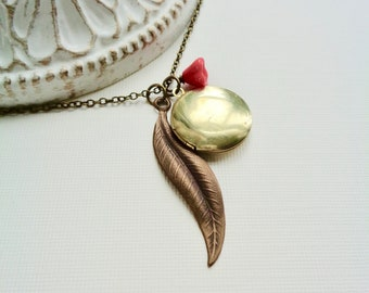 Round Locket Necklace, Vintage Round Locket with Long Leaf and Red Flower Charm Necklace, Gift Idea For Her, Small Locket, Brass Jewelry