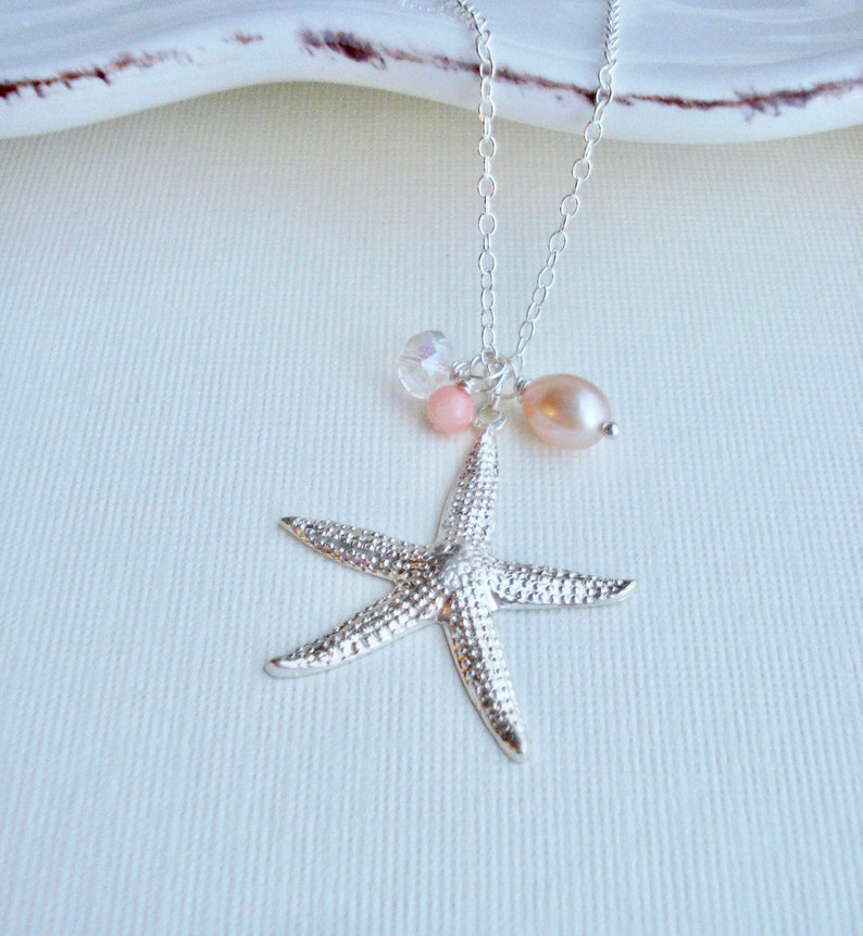 Large Starfish Necklace in Sterling Silver Pink Coral Pearl Beach Necklace Mediterranean Jewelry Mermaid Necklace Beach Wedding Jewelry