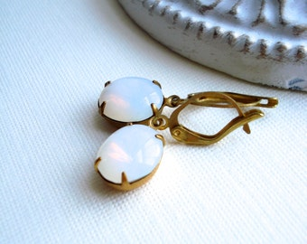 White Opal Earrings, Vintage Style Jewelry, October Birthstone, Vintage Jewels, Costume Jewelry, Gift For Her