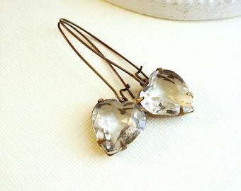 Crystal Heart Earrings Vintage Jewels Dangle Earrings Brass Jewelry Long Earrings Costume Jewelry Wedding Jewelry