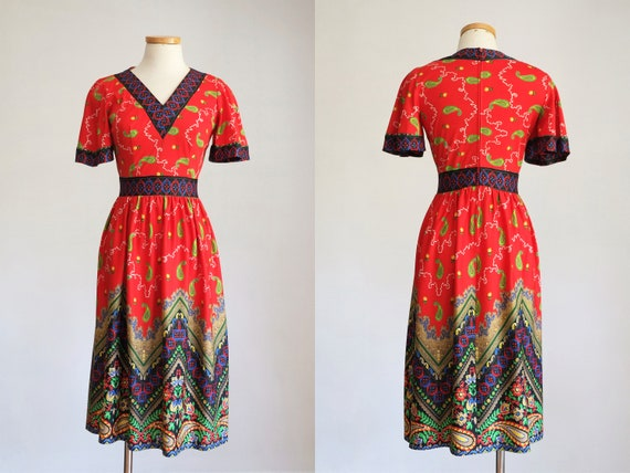 Vintage 1970s Red Paisley Floral Midi Dress