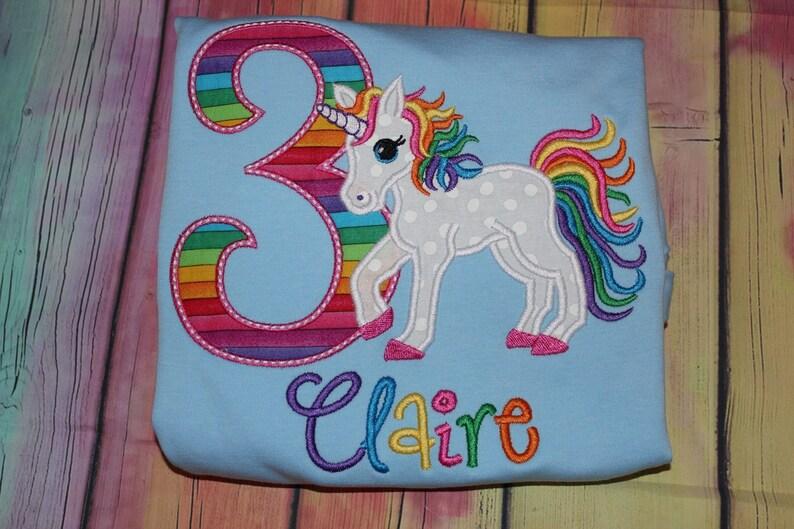 Unicorn 3rd Birthday Rainbow Colors Tshirt Or Ruffle