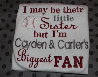 Baseball Little sister biggest fan tshirt or baby bodysuit- any colors- personalized