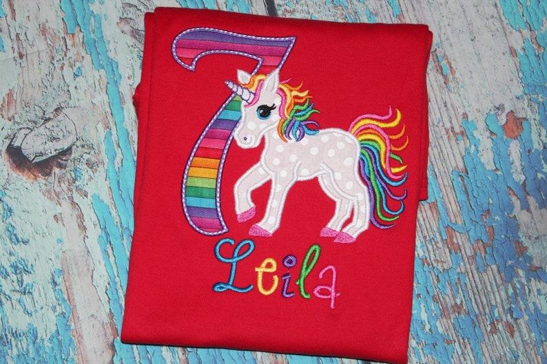 6d93346375a Unicorn 7th birthday rainbow colors birthday tshirt or ruffle