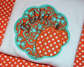 Scalloped Pumpkin Thanksgiving or Fall Personalized shirt, or dress- you pick fabric